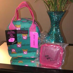 Betsey Johnson Teal & Pink FRIYAY Lunch Box